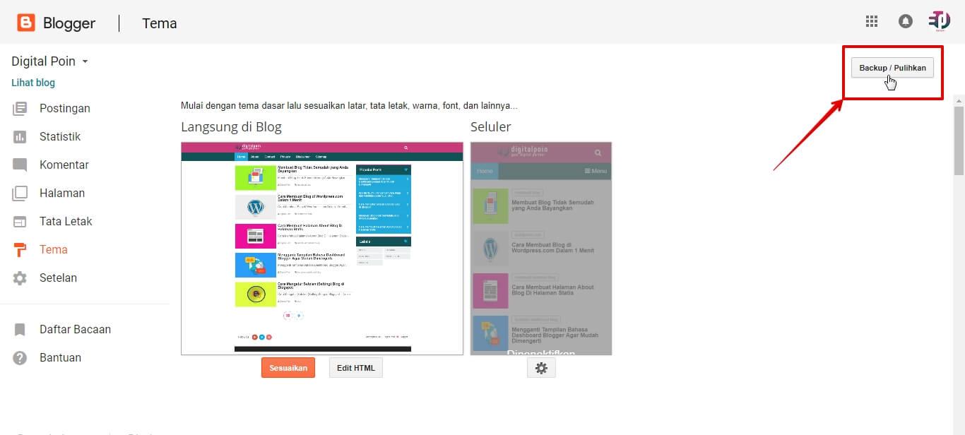 Panduan Menyimpan Kode Template Blog