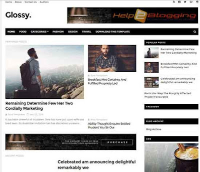 Glossy Clean, Responsive design For Business, Magazine, Newspaper blog Black, White color Minimalist Seo Ready Right sidebar Free Premium template List view Post Thumbnails 5 Social Bookmark Ready 2 Columns layout 3 Columns Footer Blogger Template download