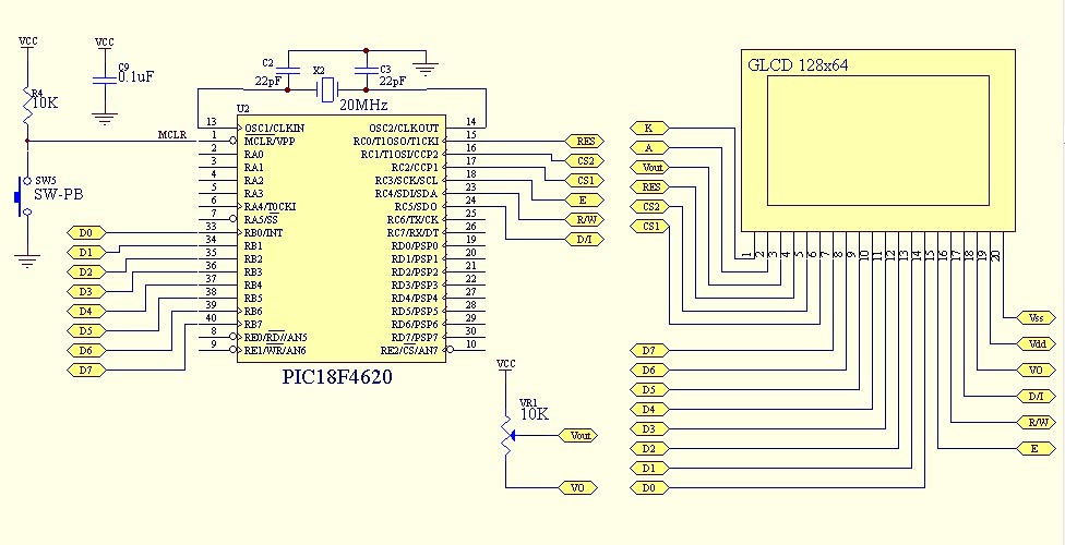 GLCD 128x64 with PIC18F4620 testing code ~ Arduino Project