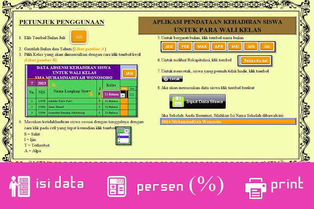 Aplikasi Menghitung Persentase Kehadiran Siswa Menggunakan Excel