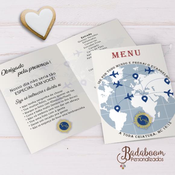 menu, cardápio, volta ao mundo, mapa mundi, casamento, bodas, avião, mapa aviação, viajem, arte personalizada, arte digital, festa digital, menu digital, kit digital