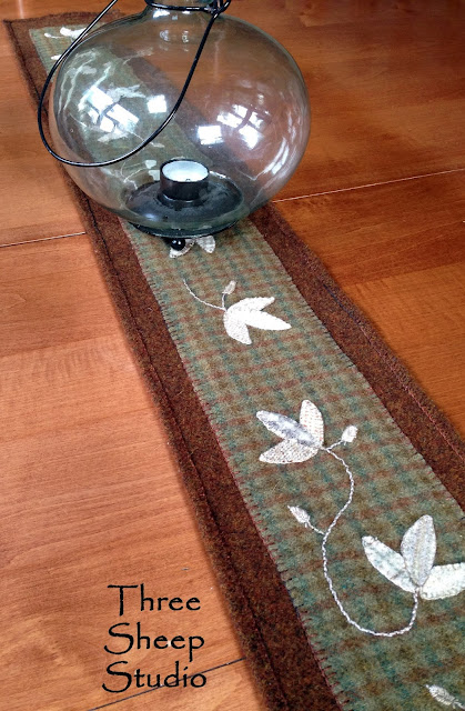 Wool Table Runner by Rose Clay at ThreeSheepStudio.com