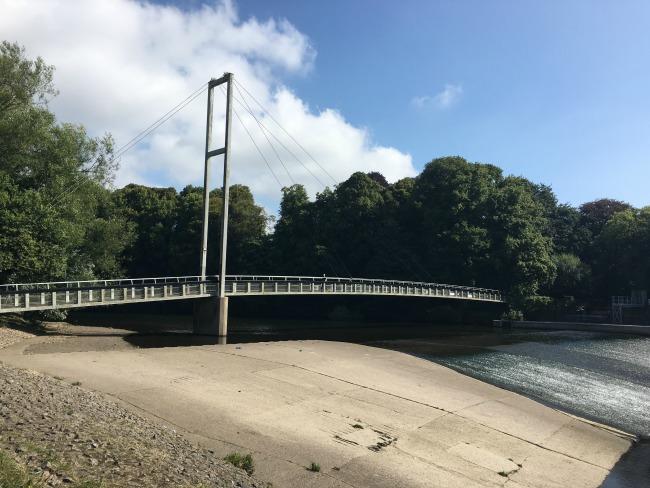 Bute-Park-Pontcanna-fields-suspension-bridge-over-river-Taff