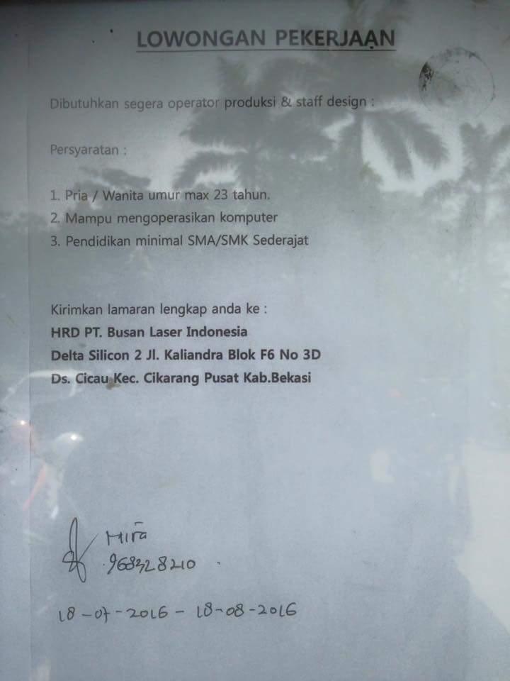 Loker Sejabotabek 2013  Saat Ini Pt Busan Laser Indonesia Membuka Lowongan Kerja Untuk Posisi