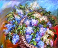 original oil painting on canvas Gift Lilac Garden
