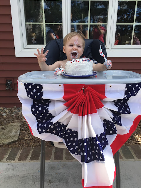 Abraham Lincoln Party, first birthday, patriotic, red, white, and blue, smash cake