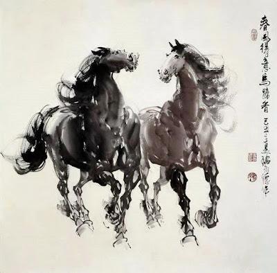 caballos galopando oleos