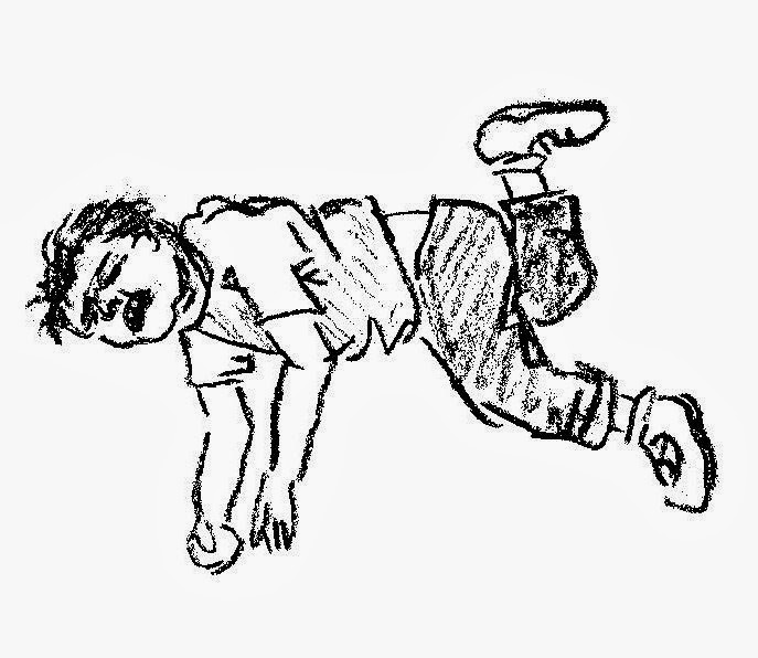 sketch of toddler throwing a tantrum on the floor