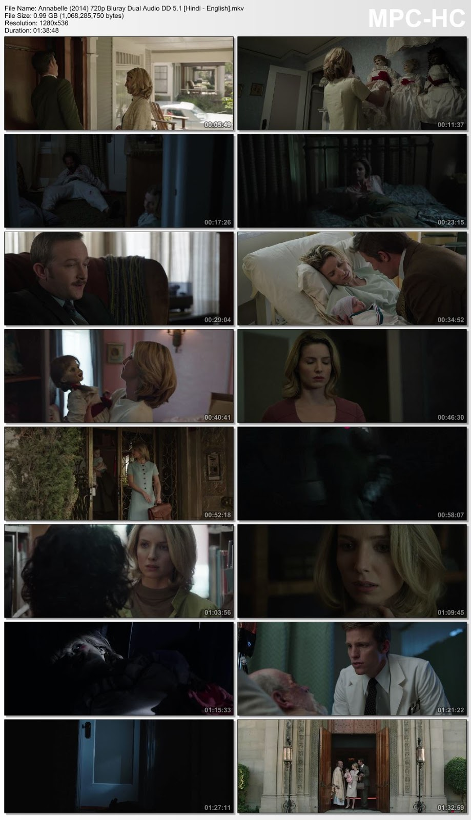 Annabelle (2014) 720p Bluray Dual Audio DD 5.1 [Hindi – English] – 990MB Desirehub