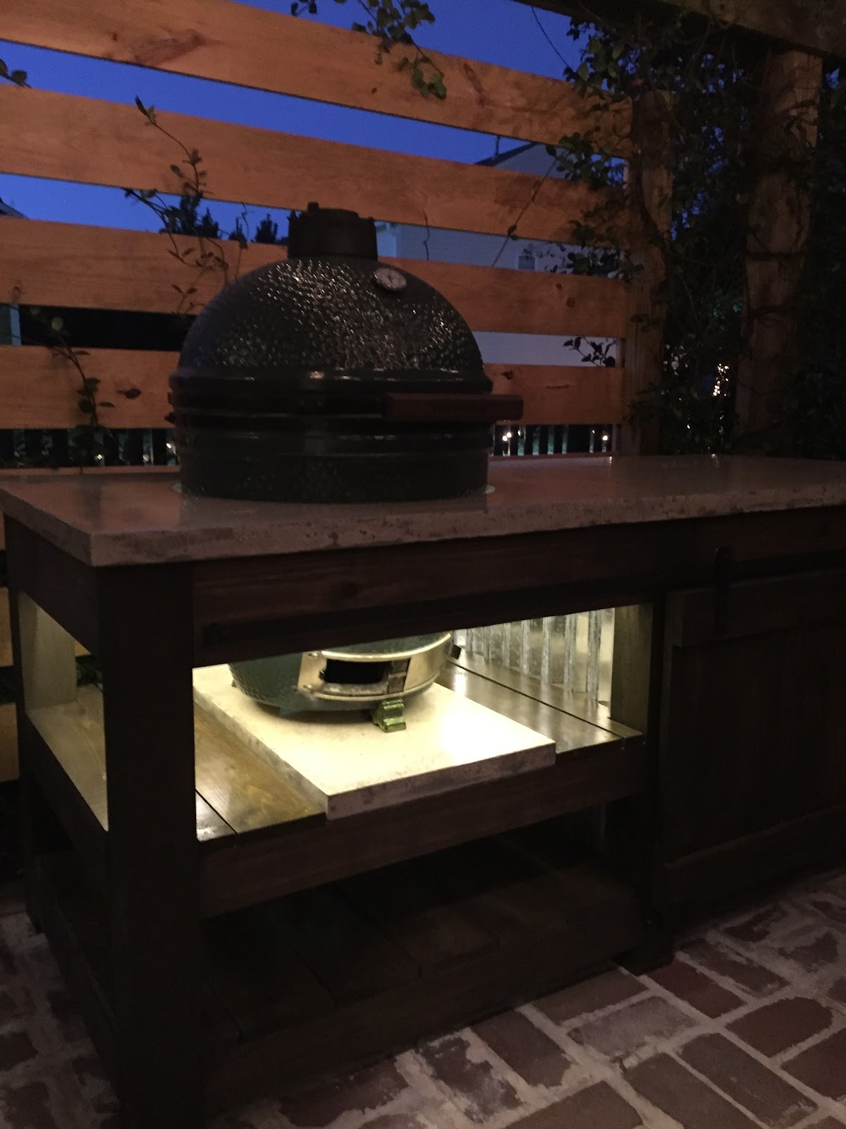 The Perfect Green Egg Table With Concrete Top Barn Door And Built In