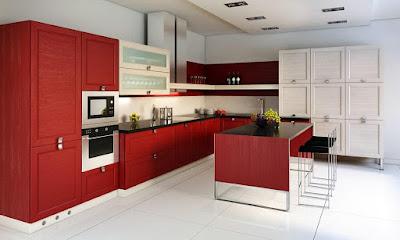 tủ bếp Acrylic màu đỏ hiện đại