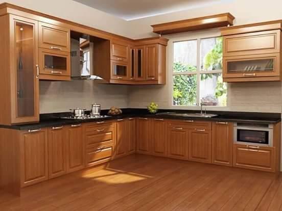 model desain kitchen set kayu jati terbaru