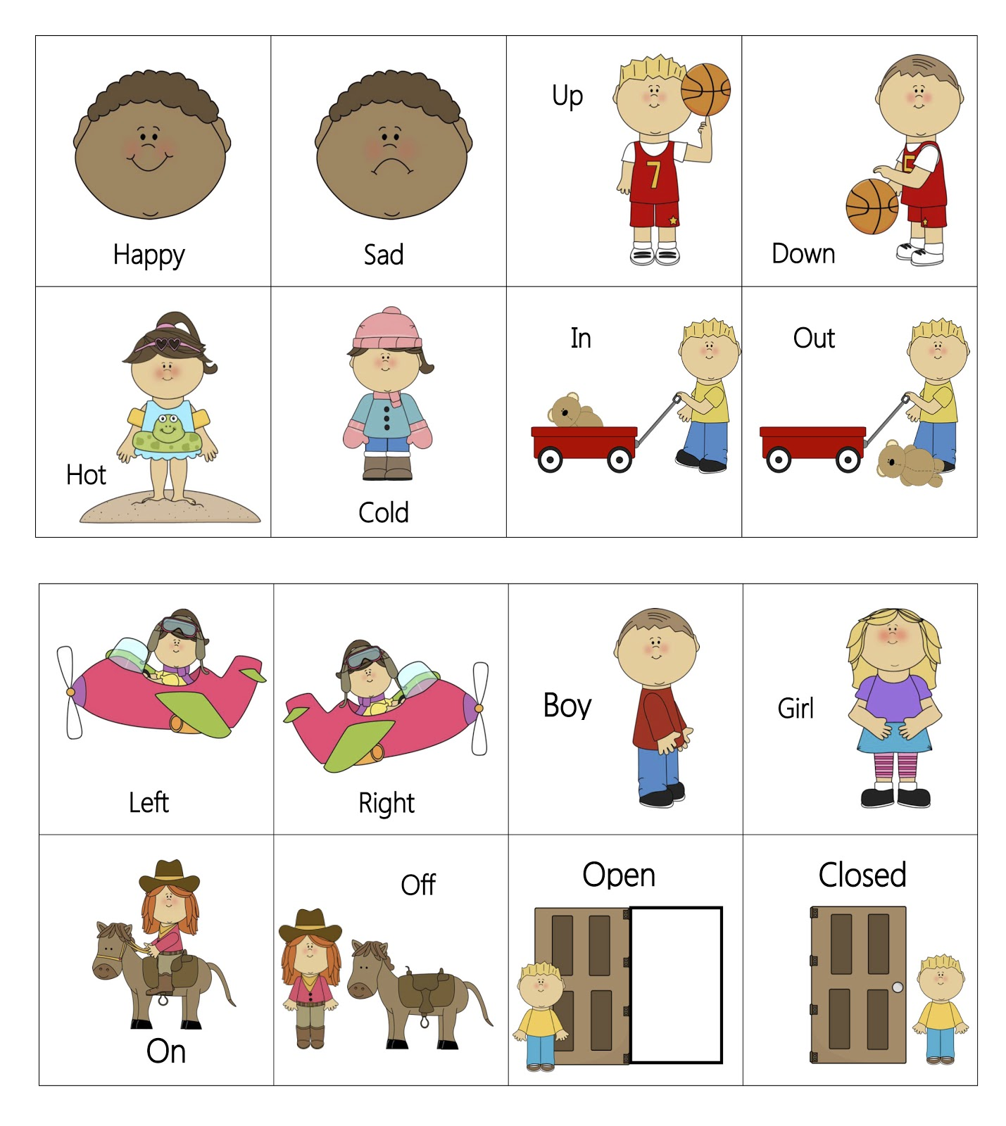 A Line List Of Opposites And For Kids