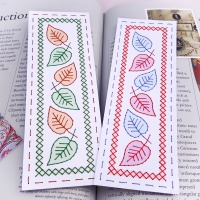 Falling leaves make your own bookmark set embroidery on card download pattern.