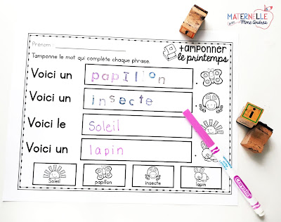 Maternelle avec mme andrea french stamping ideas activities the following sheet is for stamping the beginning letter of each of the seasonal vocabulary words i like these sheets because they force my students to sciox Image collections