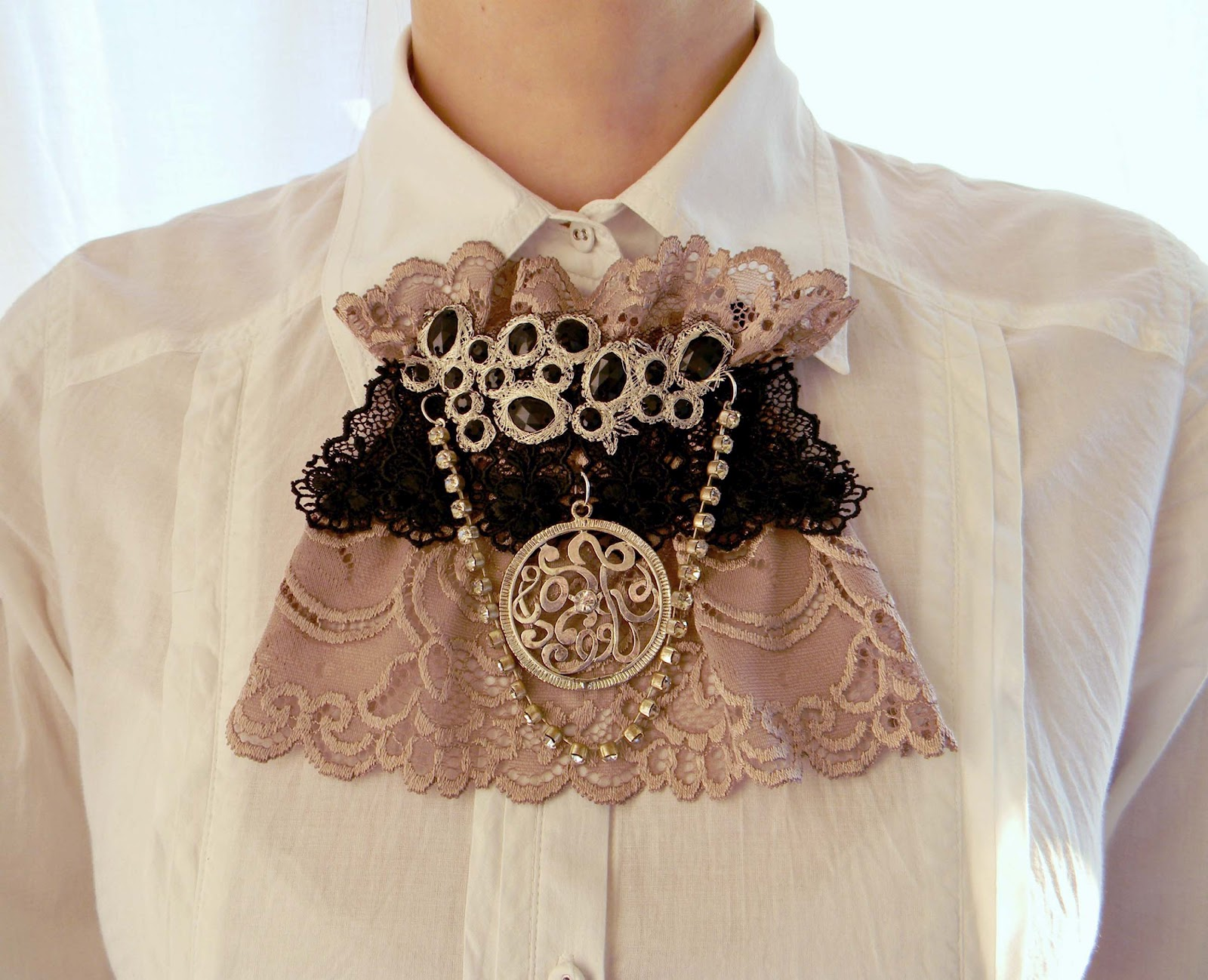 """Nude Grace"" Jabot/Collar Baroque inspired"
