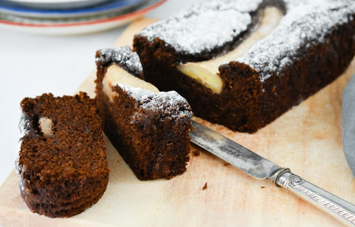 sliced dark treacle banana bread