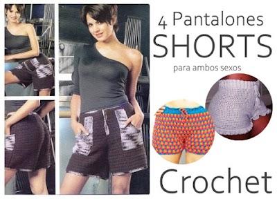 4 Pantalones a crochet cortos shorts o bermudas ambos sexos
