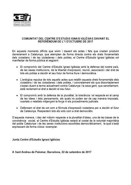 COMUNICAT DEL CEII DAVANT EL REFERÈNDUM DE L'1 OCTUBRE DE 2017