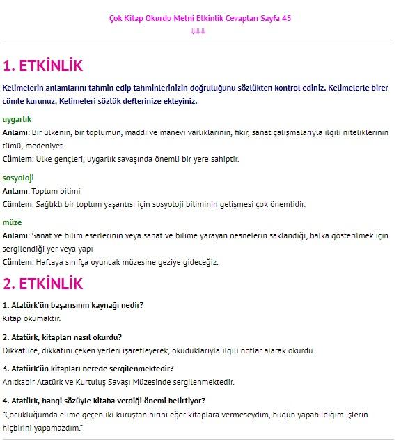 Çok Kitap Okurdu Metni Cevapları 4. Sınıf Türkçe Sayfa 45