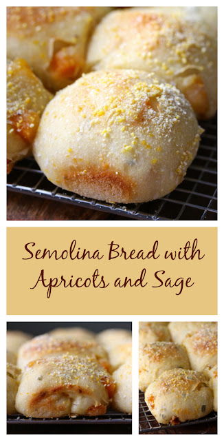 This semolina bread with apricots and sage is a wonderful combination of sweet and savory. The apricots add a sweetness and the aroma of sage totally reminds me of Thanksgiving. It's a wonderful bread for breakfast with butter and honey, or even some melted cheddar.