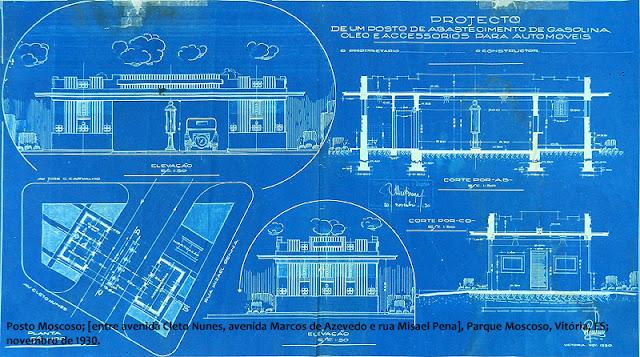 ID 268 - Projeto de um posto de abastecimento de gasolina, óleo e acessórios para automóveis – Posto Moscoso [entre avenida Cleto Nunes, avenida Marcos de Azevedo e rua Misael Pena], Parque Moscoso, Vitória, ES, novembro de 1930 e fevereiro de 1931.