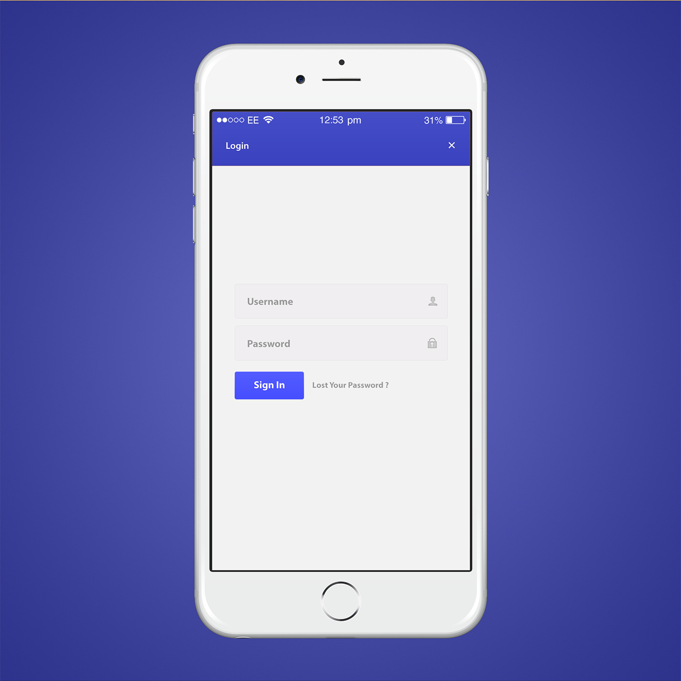 Blue Color App Login Design