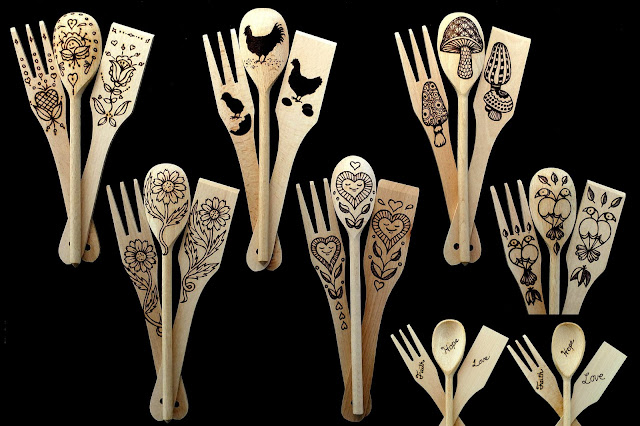 Wooden spoons with burned designs