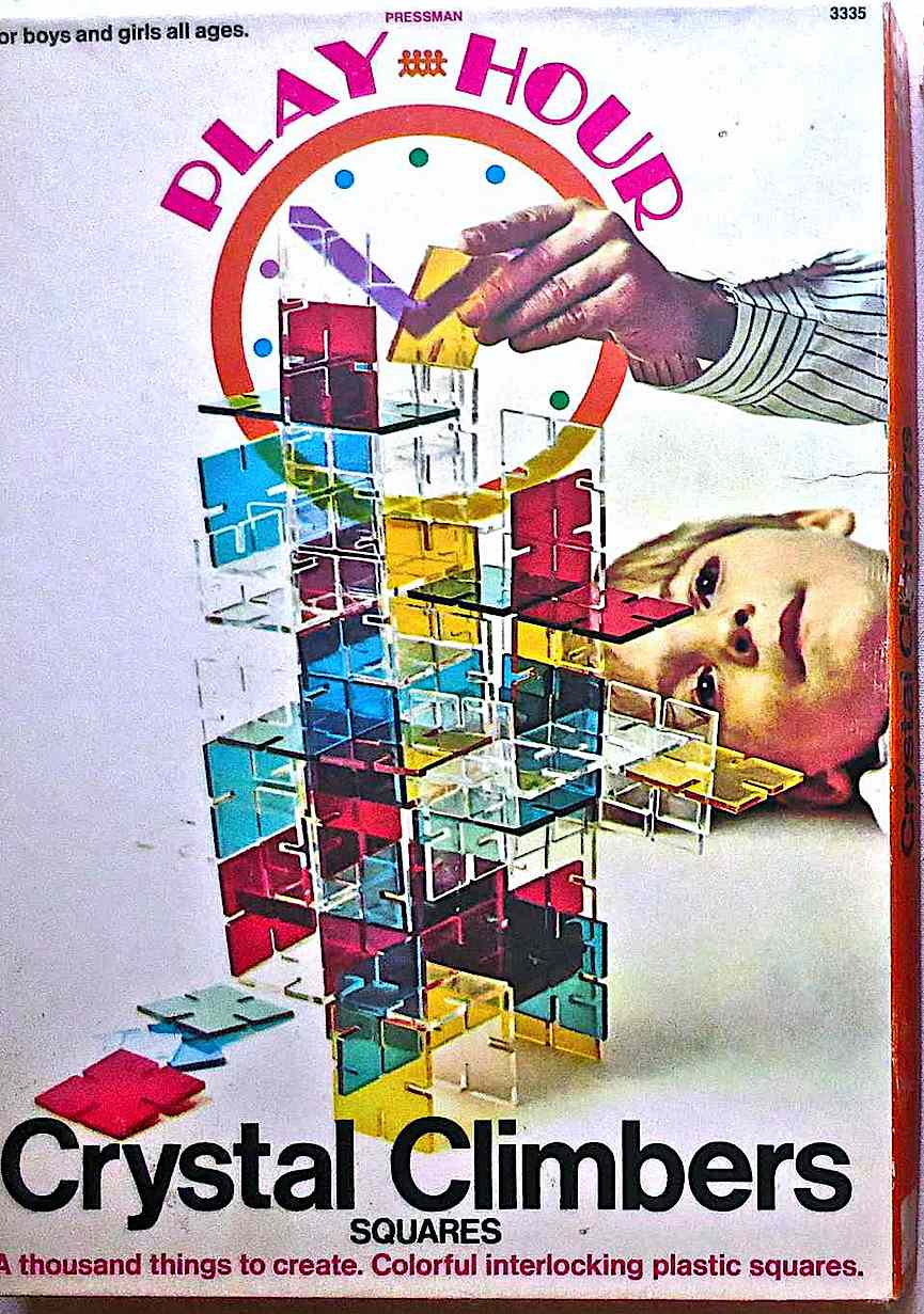 Crystal Climbers interlocking plastic squares, by Pressman Play Hour, a color image