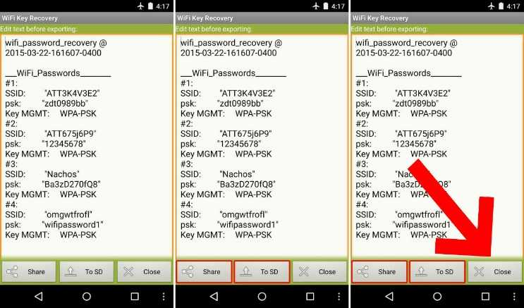 WiFi Key Recovery aynı zamanda rootsuz wifi şifresi görmek için de kullanılabilir.