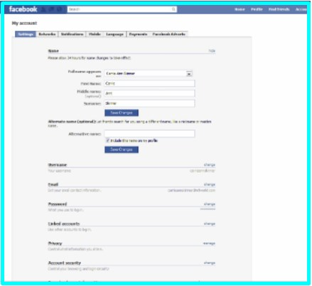 how can i change my profile name in facebook account