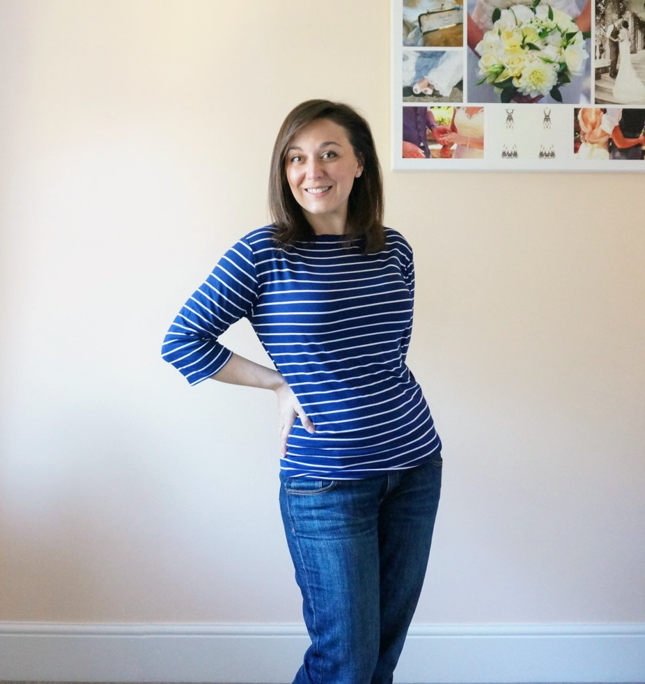Most worn: DIY slash neck Breton stripe top