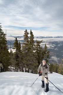 surmounting Keta View Rock Walking up Bill's Trail toward Stowe Peak, Prince of Whales Range on Vancouver Island