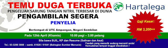 Temuduga Terbuka Hartalega NGC, Sepang di JobsMalaysia Negeri Sembilan 12 April 2018