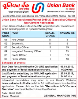 UNION BANK OF INDIA SPECIALIST OFFICERS FOREX, TREASURY OFFICER, CREDIT OFFICER 181 UBI BANK JOBS RECRUITMENT EXAM 2019 NOTIFICATION