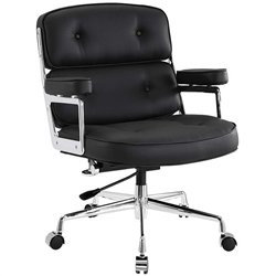 Tufted Black Leather Office Chair