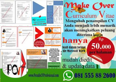 Jasa Pembuatan Curriculum vitae dan surat lamaran kerja profesional
