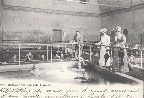 Лейкербад, Швейцария. Термальные бассейны.1910