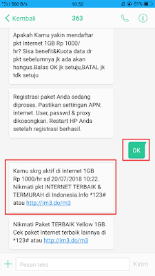 Cara datar paket yellow 1GB Rp.1000 Indosat Terbaru