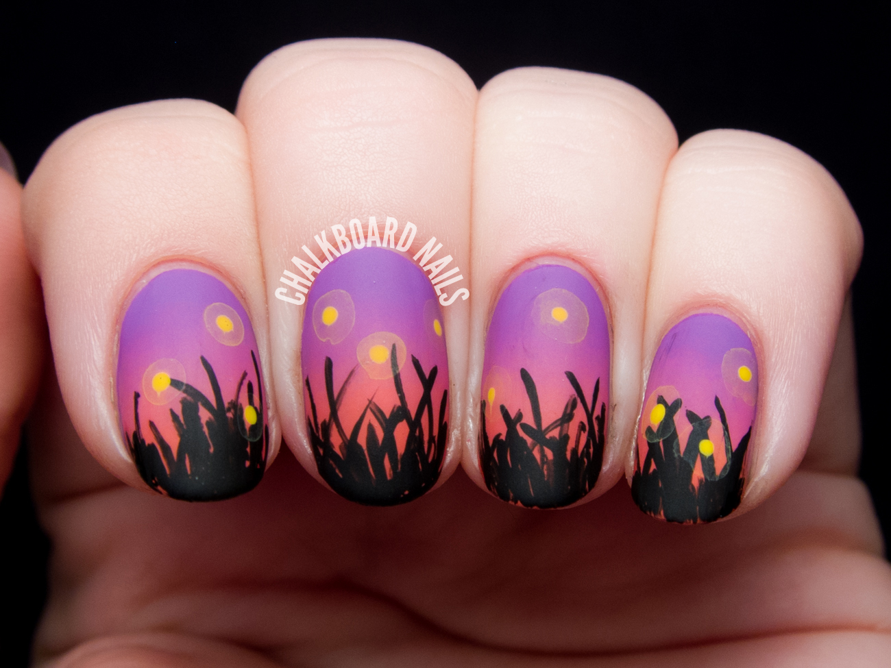 Fireflies at sunset nail art by @chalkboardnails