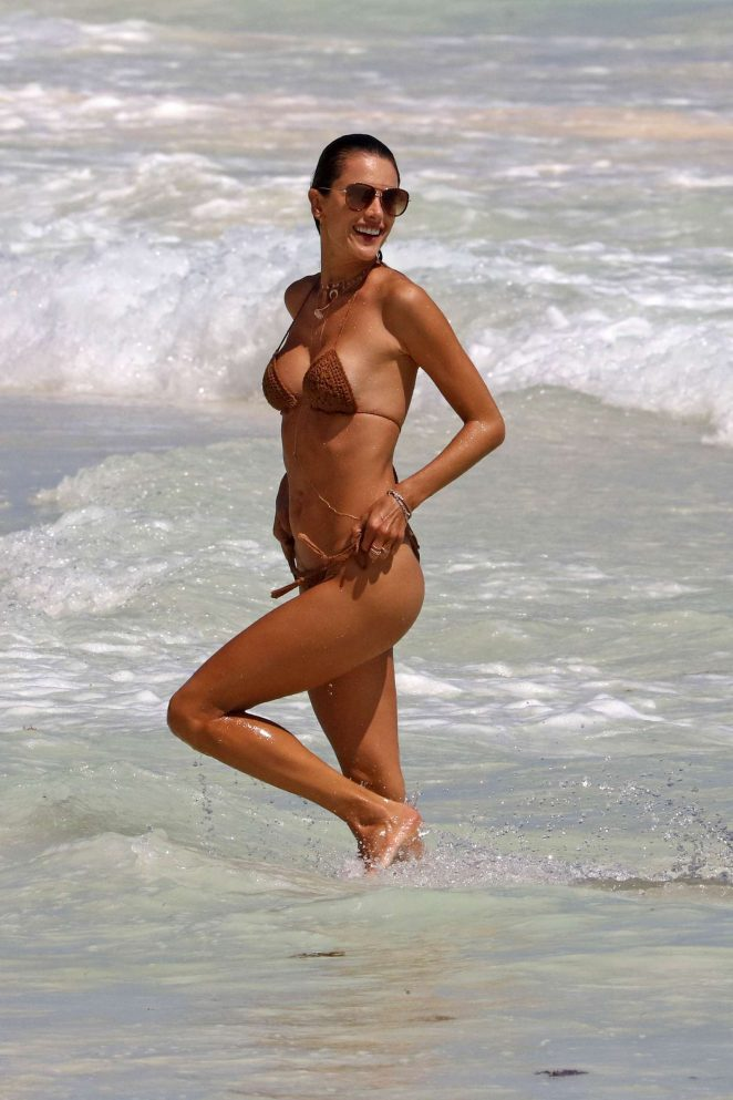 Alessandra Ambrosio Spotted in Brown Bikini