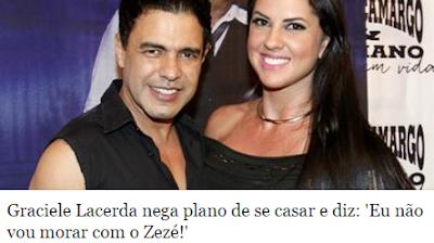 Graciele Lacerda nega e diz: 'Eu não vou morar com o Zezé!'