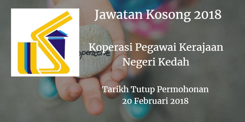 Jawatan Kosong Koperasi Pegawai Kerajaan Negeri Kedah 20 Februari 2018