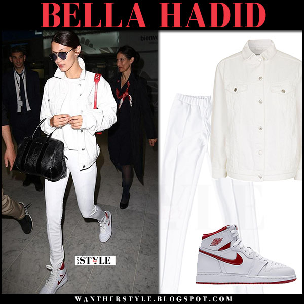 Bella Hadid in white denim jacket topshop and white pants brashy what she wore june 9 2017 paris