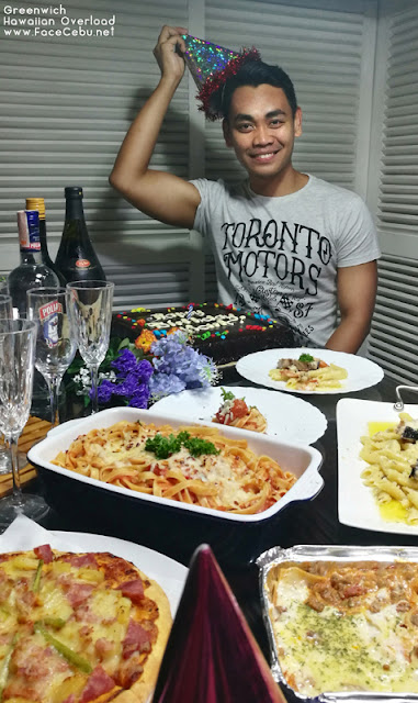 Best Cebu Blogs Awards Founder, Mark Monta with his Greenwich Hawaiian Pizza during his 30th Birthday Party