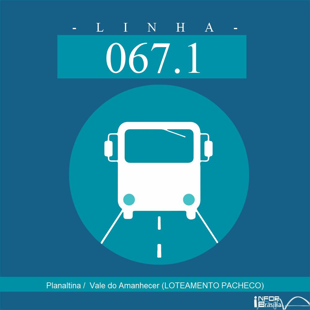 Horário de ônibus e itinerário 067.1 - Planaltina /  Vale do Amanhecer (LOTEAMENTO PACHECO)