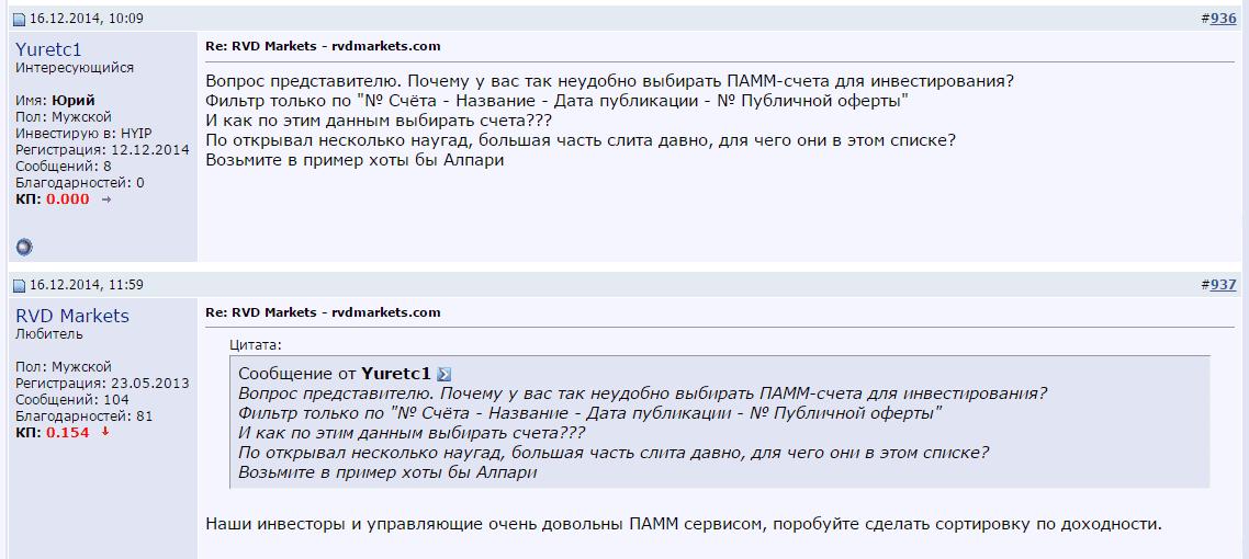 Отзывы о RVD Markets