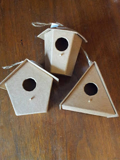 Three card birdhouses in different shapes