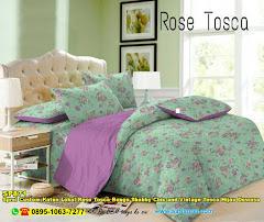 Sprei Custom Katun Lokal Rose Tosca Bunga Shabby Chic And Vintage Tosca Hijau Dewasa