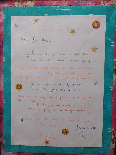 Thanks letter to Dr Shivani Sachdev Gour
